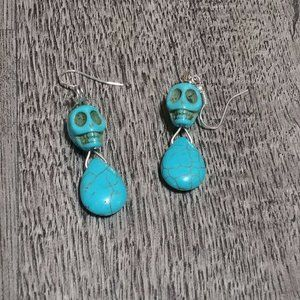 Jewelry - Turquoise Skull & Droplet Howlite Stone Earrings
